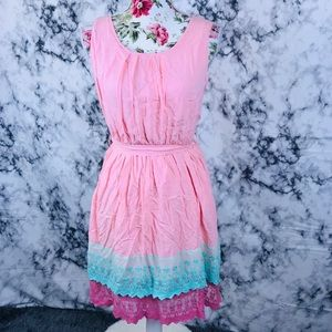 Anthropologie poema M pink and blue lace dress